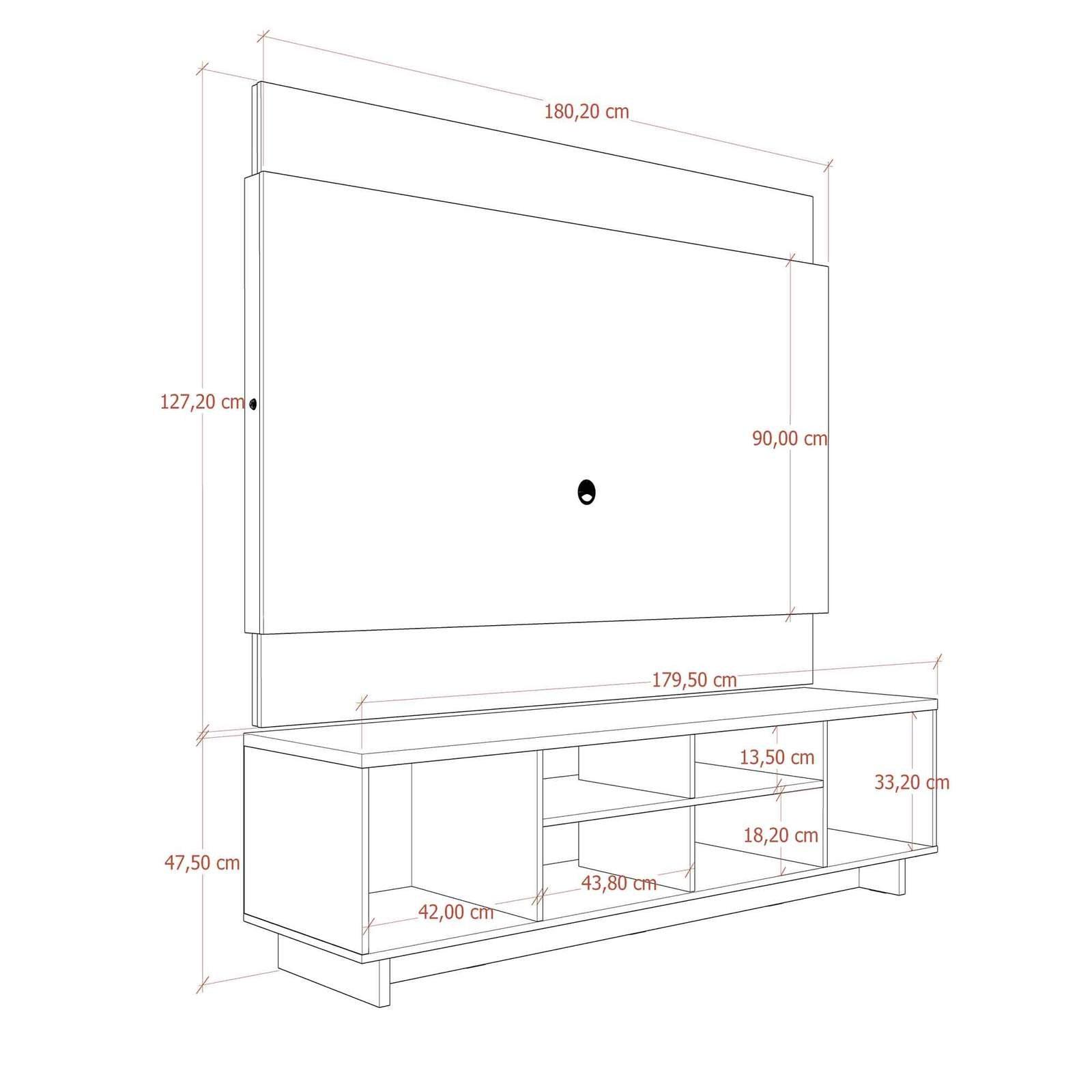 Rack com Painel Collins - Cinamomo / Off-White Fosco 180 cm