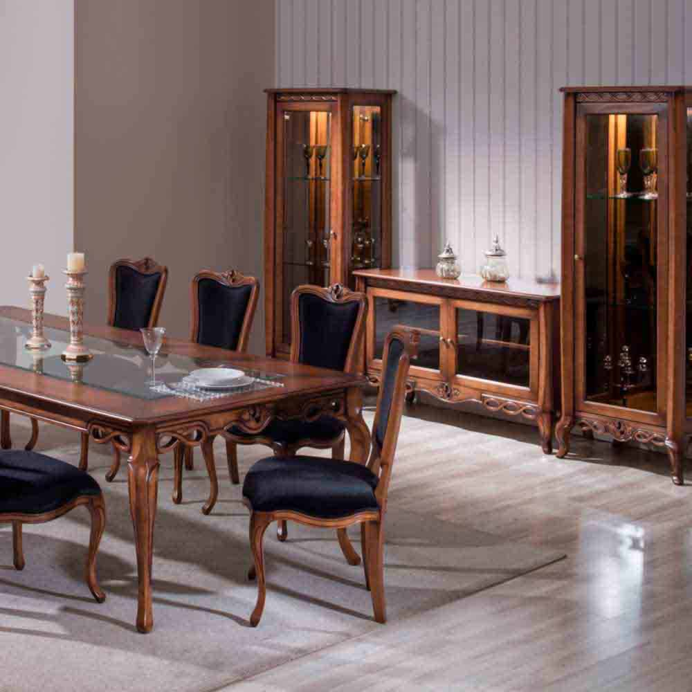 Mesa de Jantar Allegra Madeira Maciça Design Clássico Avi Móveis