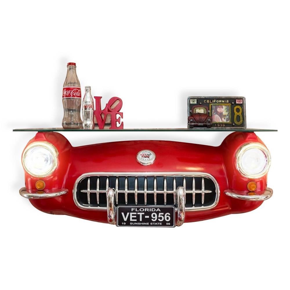 Aparador Automotivo Replica Corvette Vermelho com Vidro e Led