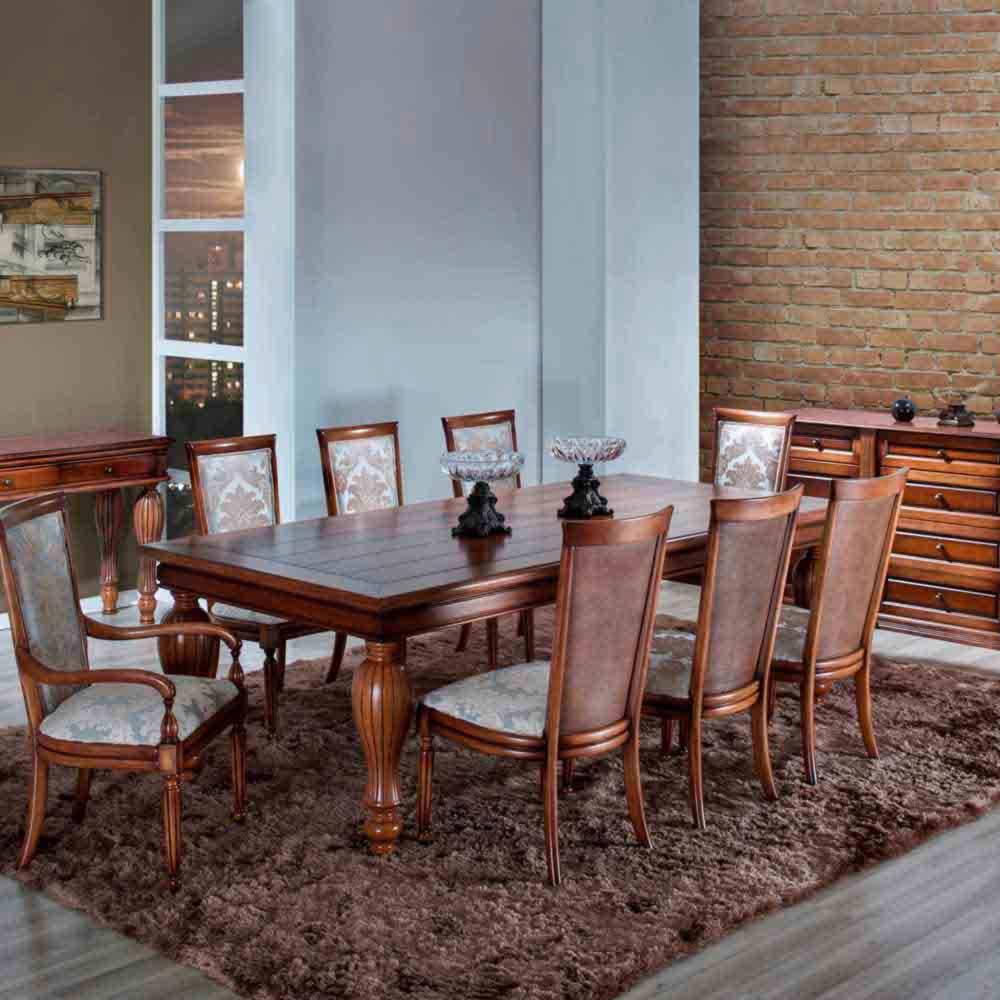 Mesa de Jantar Beirute Madeira Maciça Design Clássico Avi Móveis