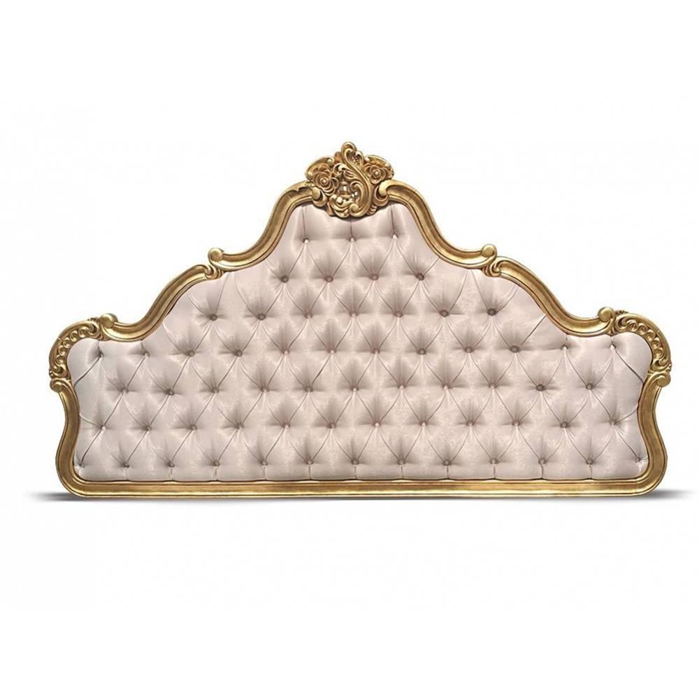 Cabeceira Imperial em Folha de Ouro Tam Queen e King com Tecidos Personalizados