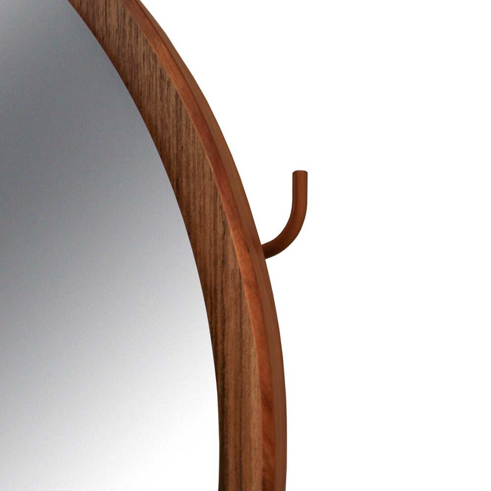 Cabideiro Michigan com Espelho Cobre em MDF e Aço Carbono Louro Freijó Design Industrial e Minimalista