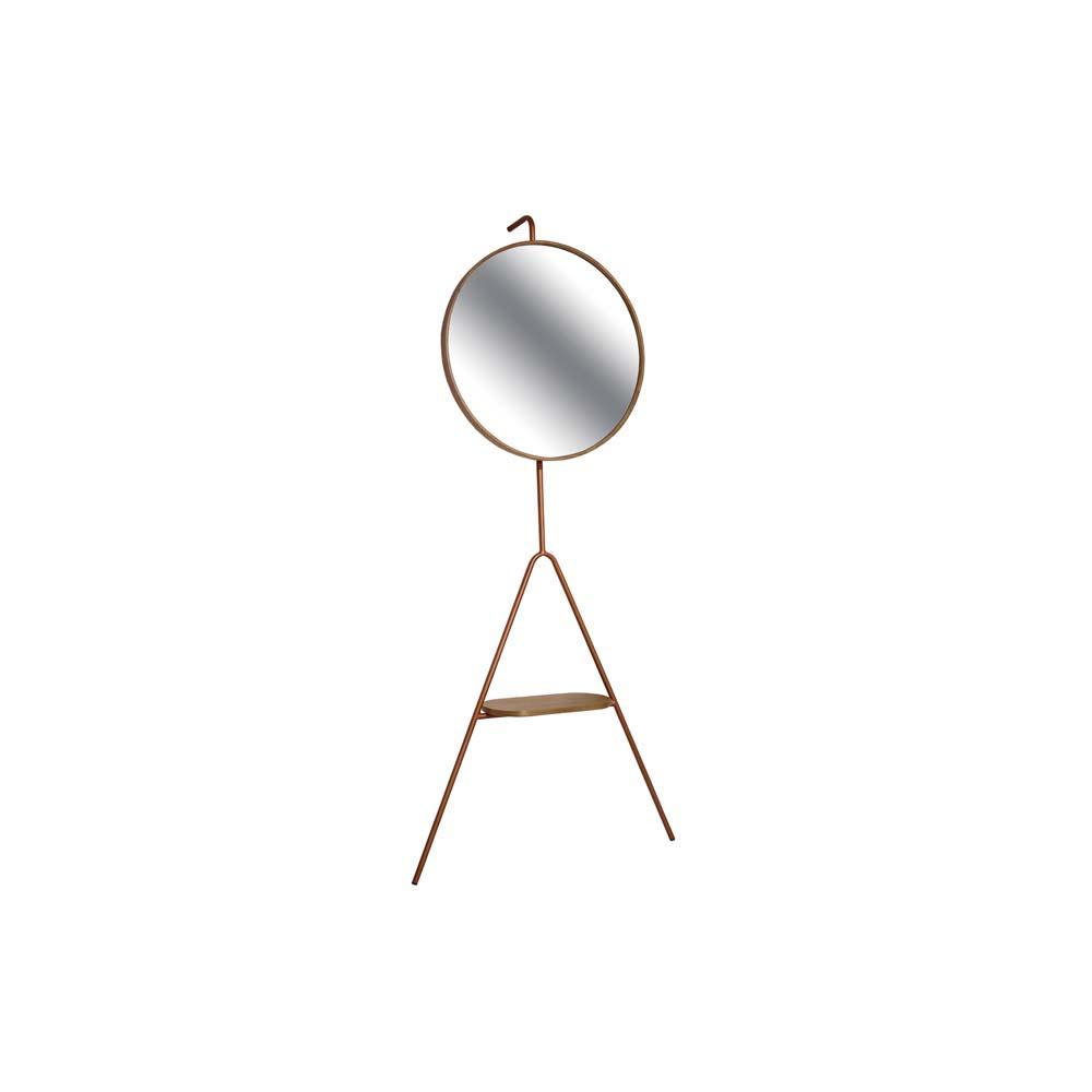 Cabideiro Joy com Espelho Cobre em MDF e Aço Carbono Louro Freijó Design Industrial e Minimalista