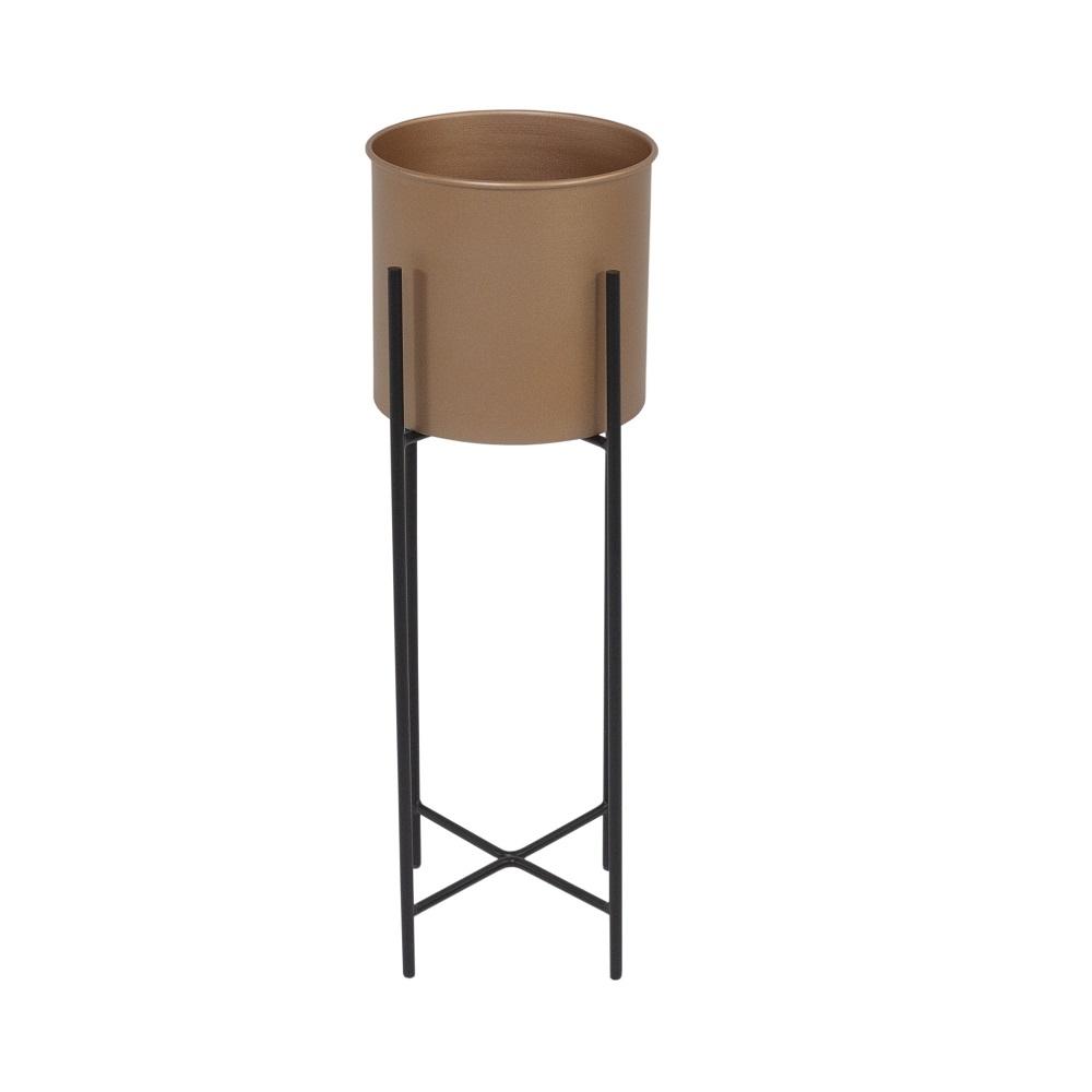 Cachepot Padma em Alumínio Ø 20 cm Estrutura Aço Carbono Preto Design Industrial e Minimalista