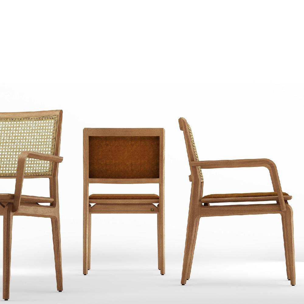 Cadeira com Braço Aria Palha e Estofado Base Jequitibá Coleção Bari Tremarin Design by Fernando Sá Motta