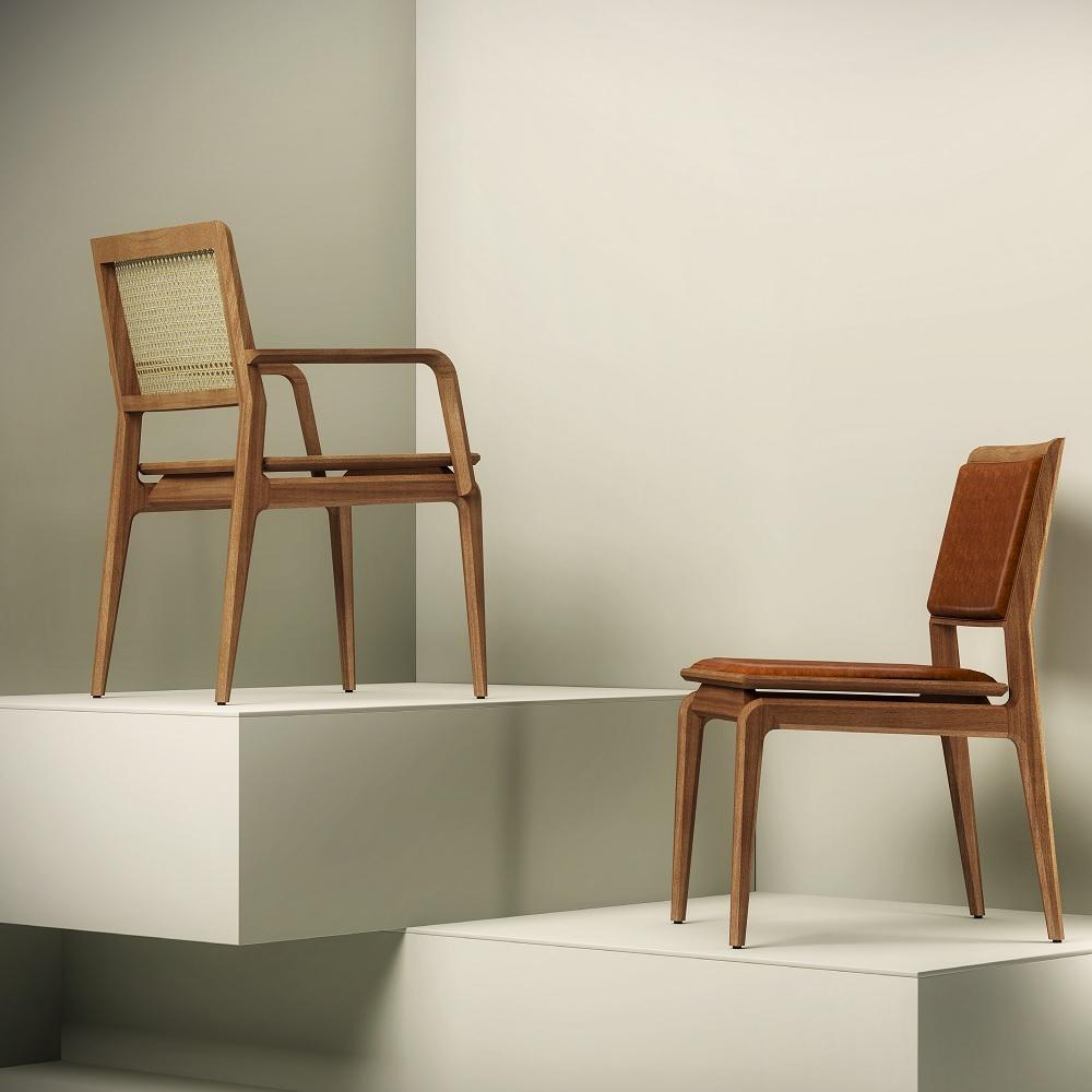 Cadeira com Braço Aria Palha Natural Base Jequitibá Coleção Bari Tremarin Design by Fernando Sá Motta