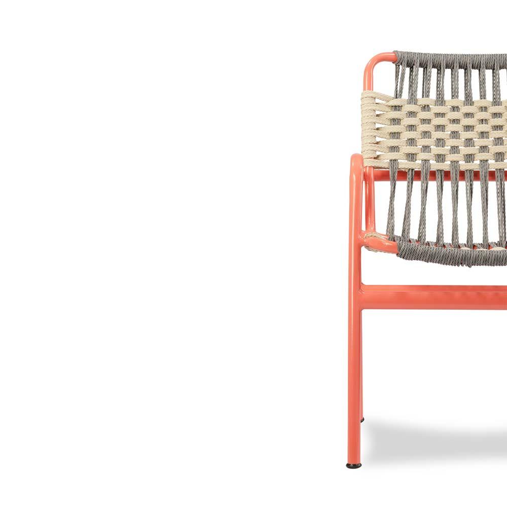 Cadeira Bay para Área Externa Trama Corda Náutica Estrutura Alumínio Eco Friendly Design Scaburi