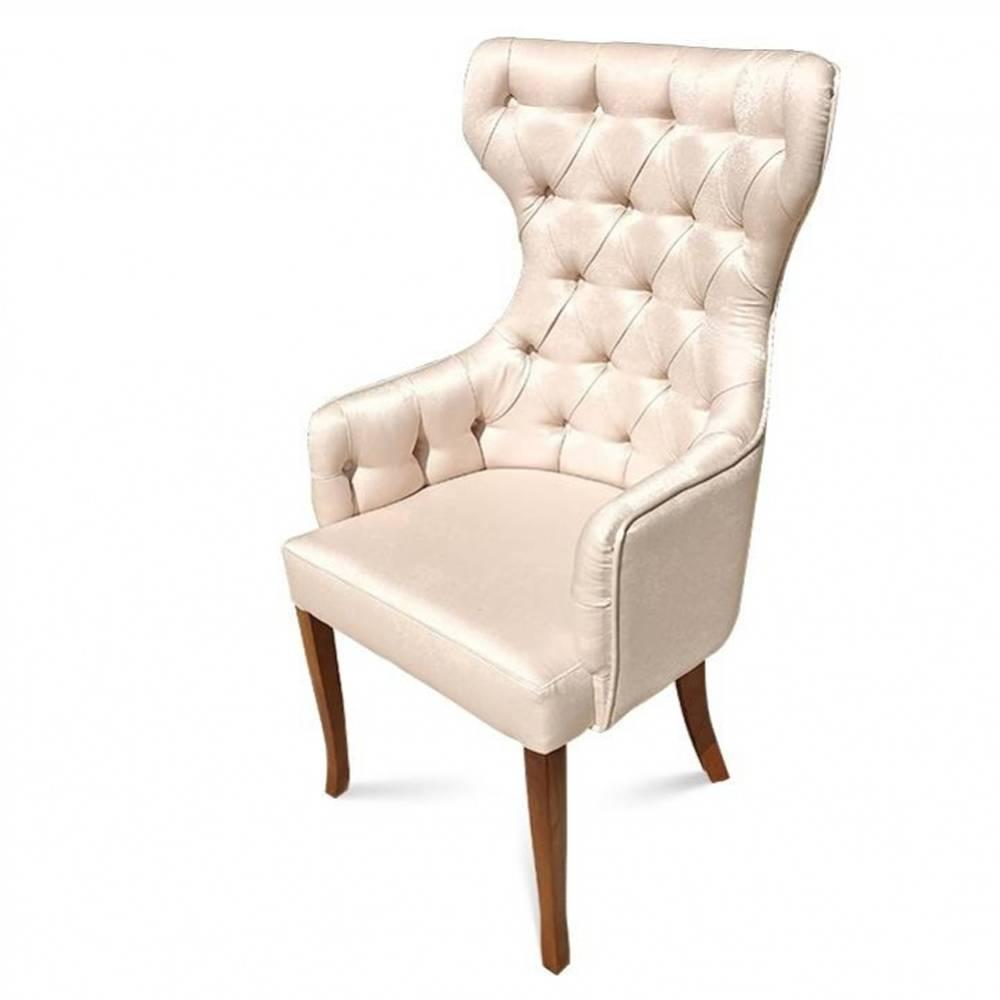 Cadeira Berger em Capitone e Madeira Maciça com Tecidos Personalizáveis