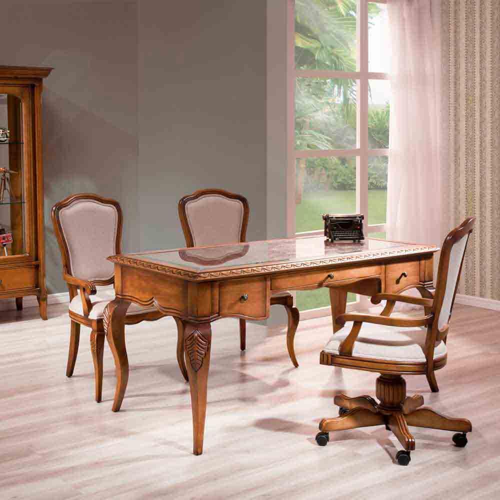Escrivaninha Hillux Tampo com Recouro Vidro Madeira Maciça Design Clássico Avi Móveis