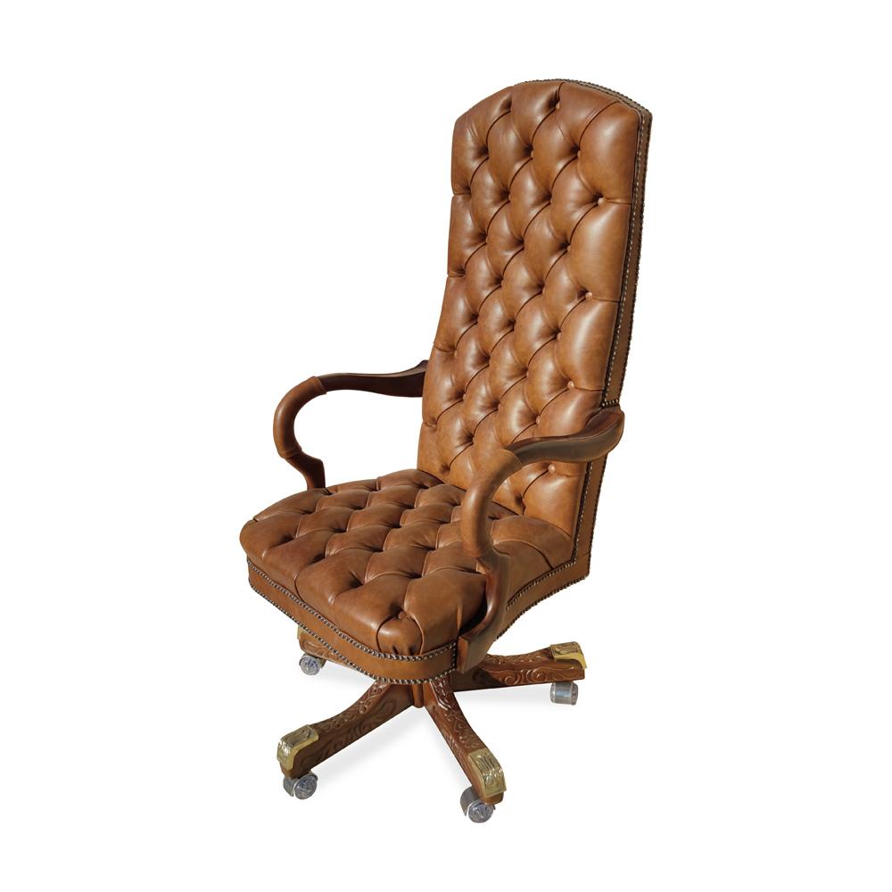 Cadeira Giratória Luxo Alta Capitonê Pés Madeira Entalhada Ajuste de Altura e Relax Design Clássico