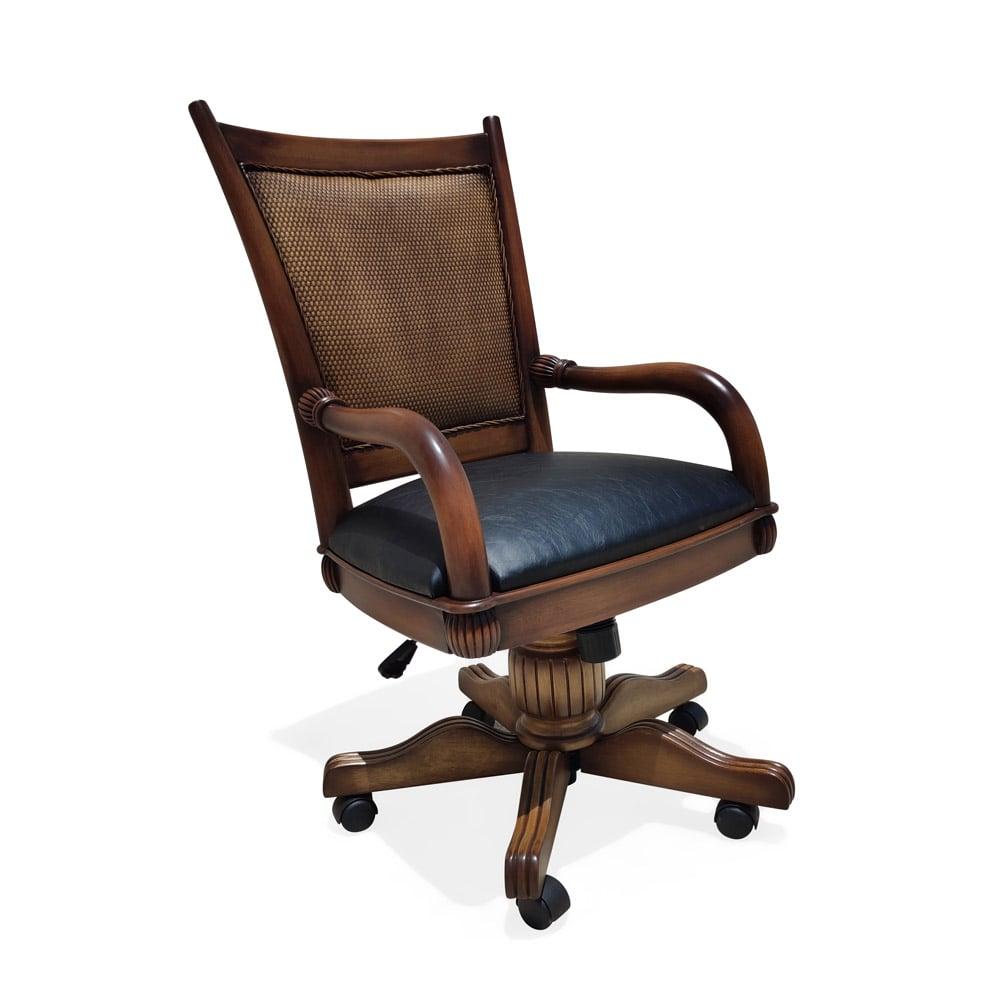 Cadeira Giratória Victory Palha com Braço Madeira Maciça Design Clássico Avi Móveis