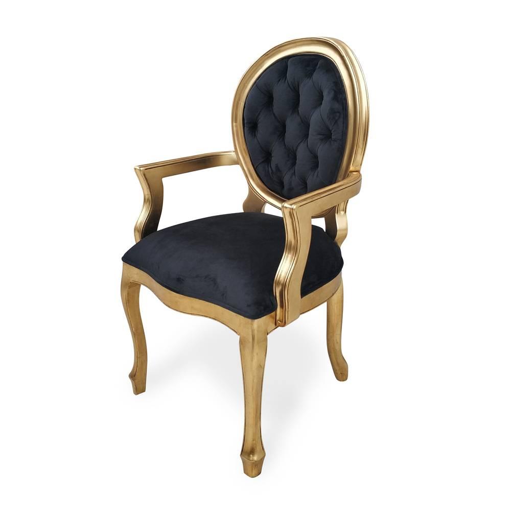 cadeira imperial braco capitonê folha ouro
