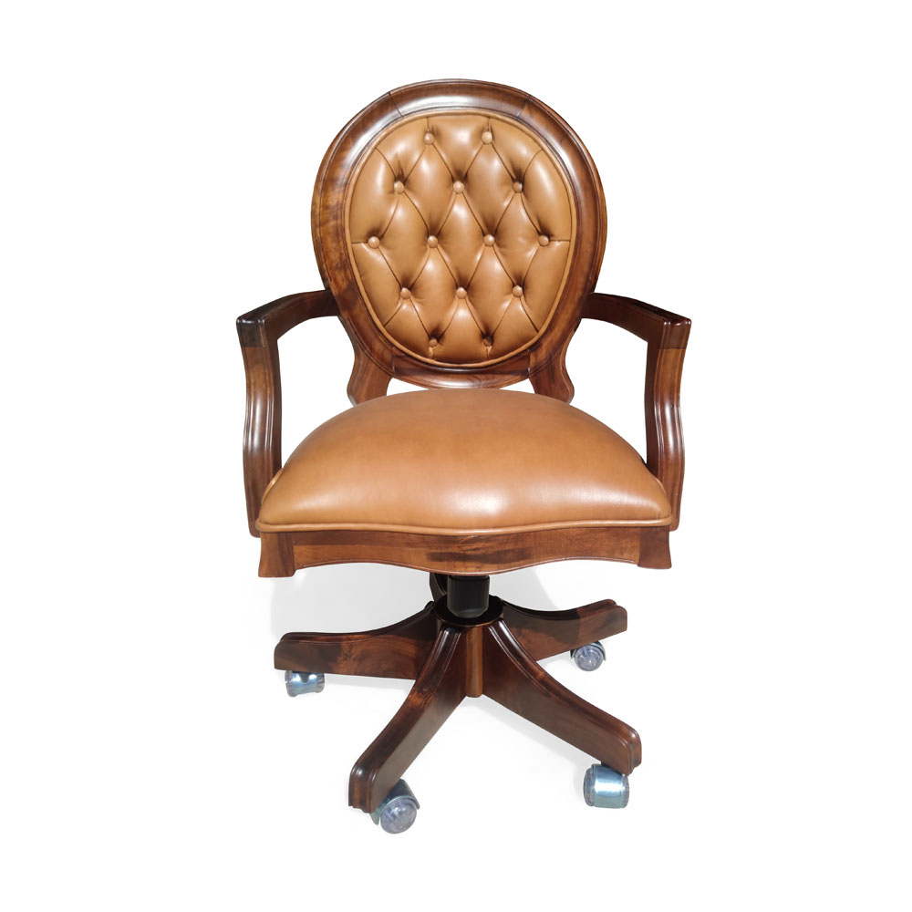 Cadeira Imperial Giratória Madeira Maciça e Capitonê com Ajuste de Altura e Relax