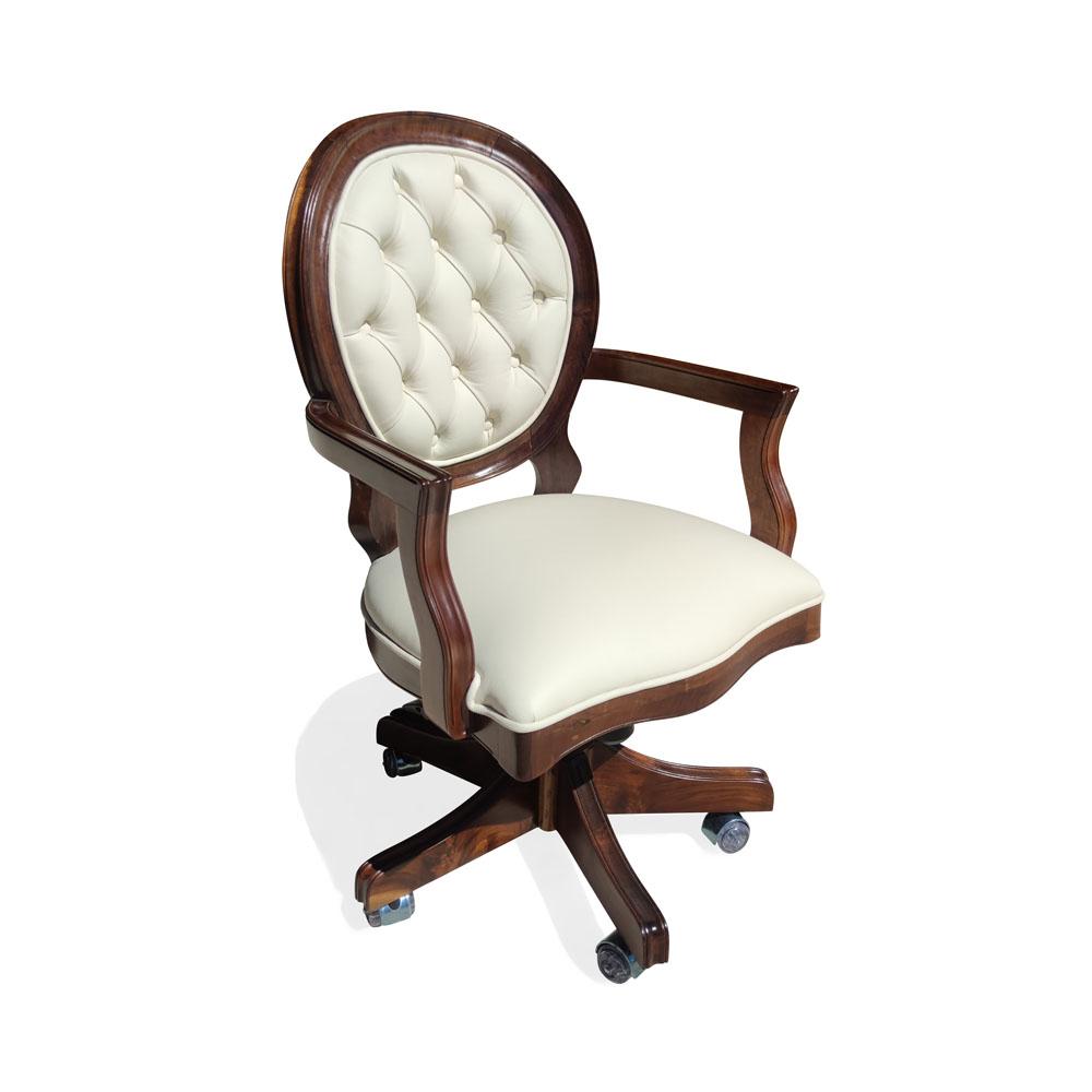Cadeira Imperial Giratória Madeira Maciça e Capitonê Reclinável e Ajuste de Altura
