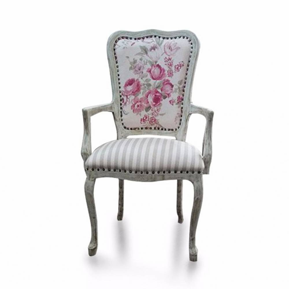 Cadeira Inglesa com Braço em Madeira com Pinturas e Tecidos Personalizáveis