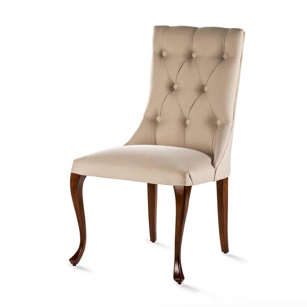 Cadeira Luce Luis XV com Capitonê Madeira Maciça Design Clássico Avi Móveis