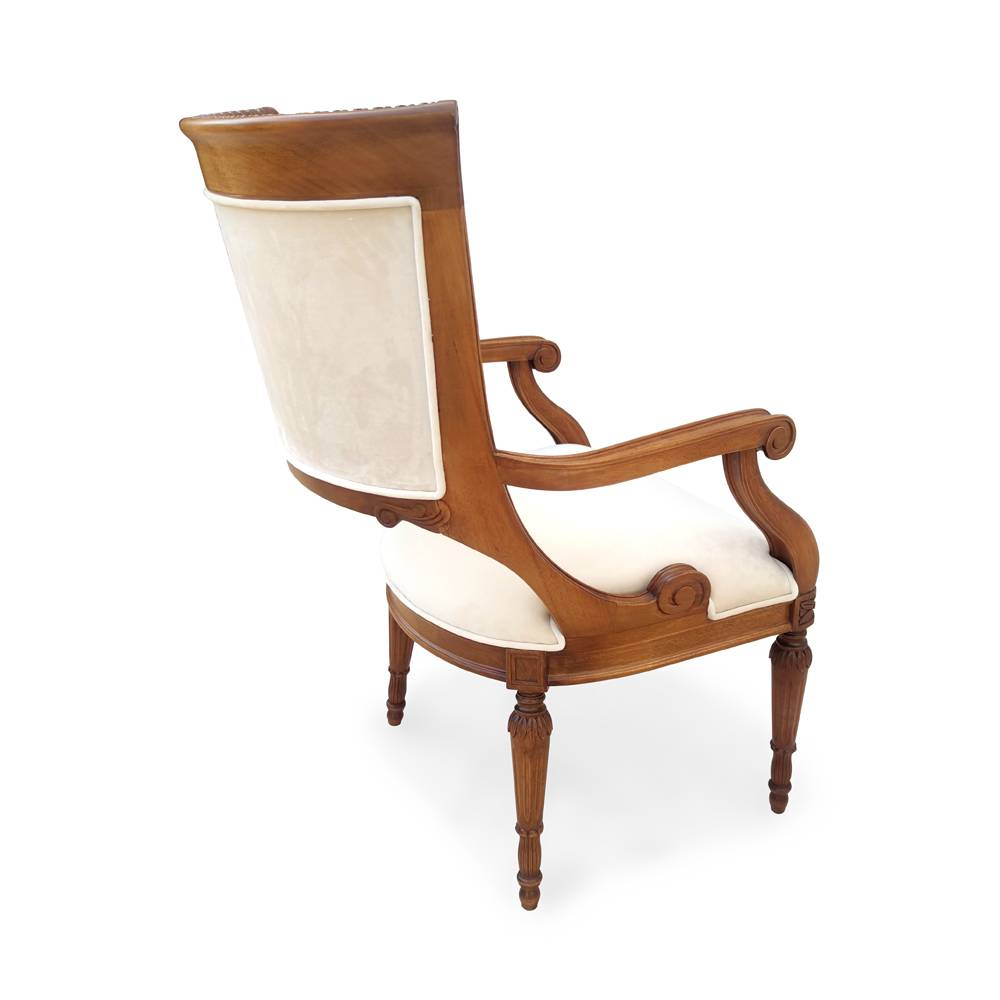 Cadeira Luis Felipe Entalhada em Madeira com Pinturas e Tecidos Personalizáveis