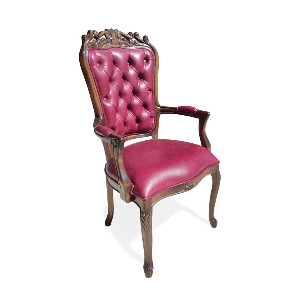 Cadeira Luis XV com Braço em Capitone