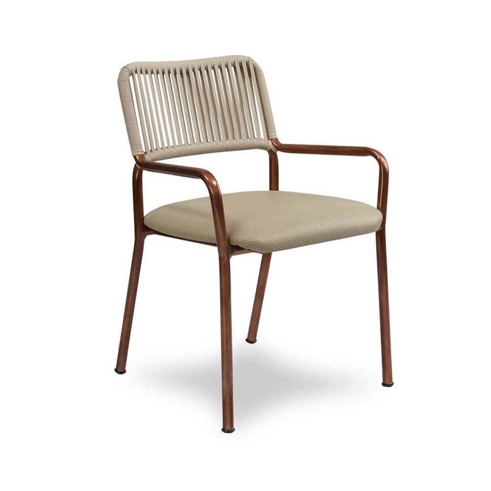 Cadeira Maori para Área Externa Trama Corda Náutica Estrutura Alumínio Eco Friendly Design Scaburi