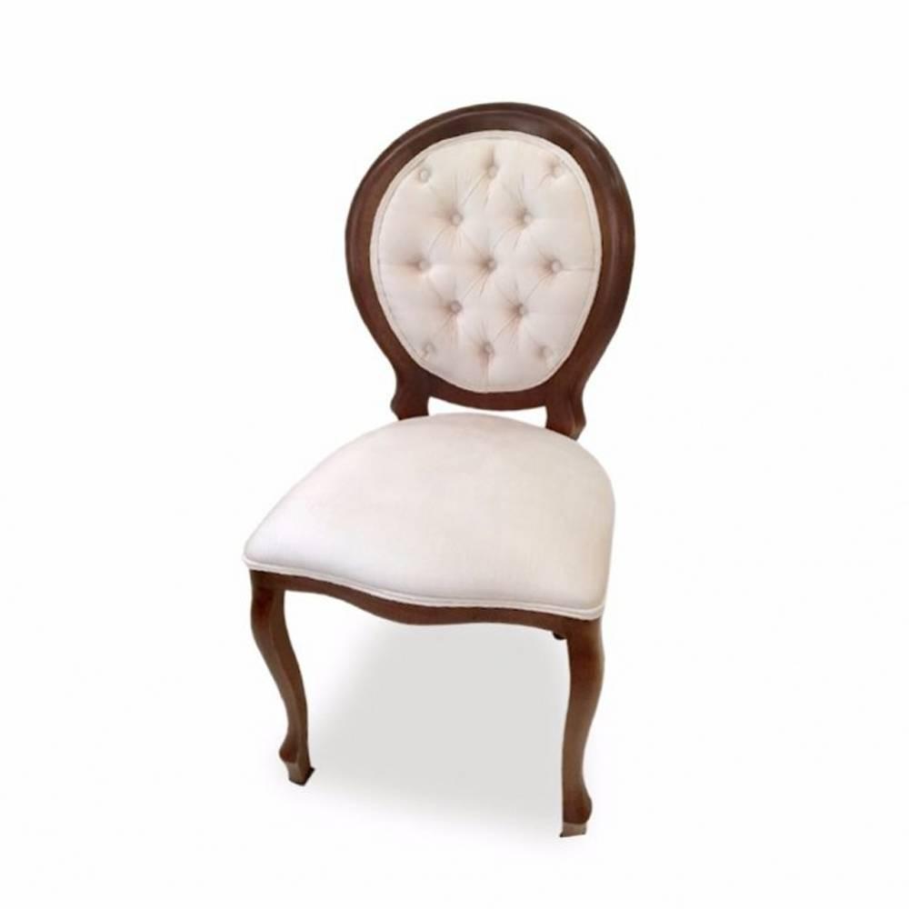 Cadeira Medalhão Capitone em Madeira com Pinturas e Tecidos Personalizáveis