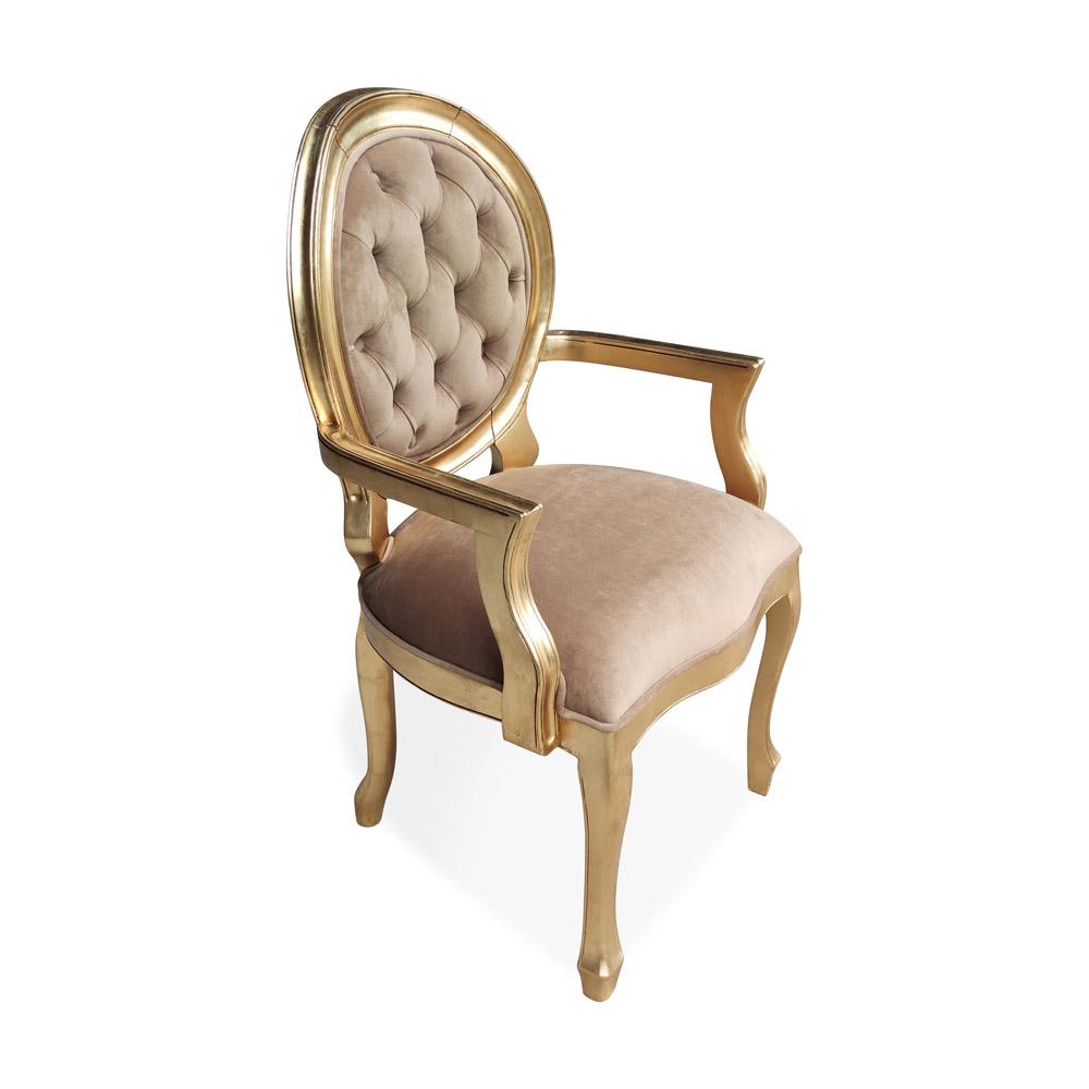 Cadeira Medalhão com Braço em Capitone com Pinturas e Tecidos Personalizáveis