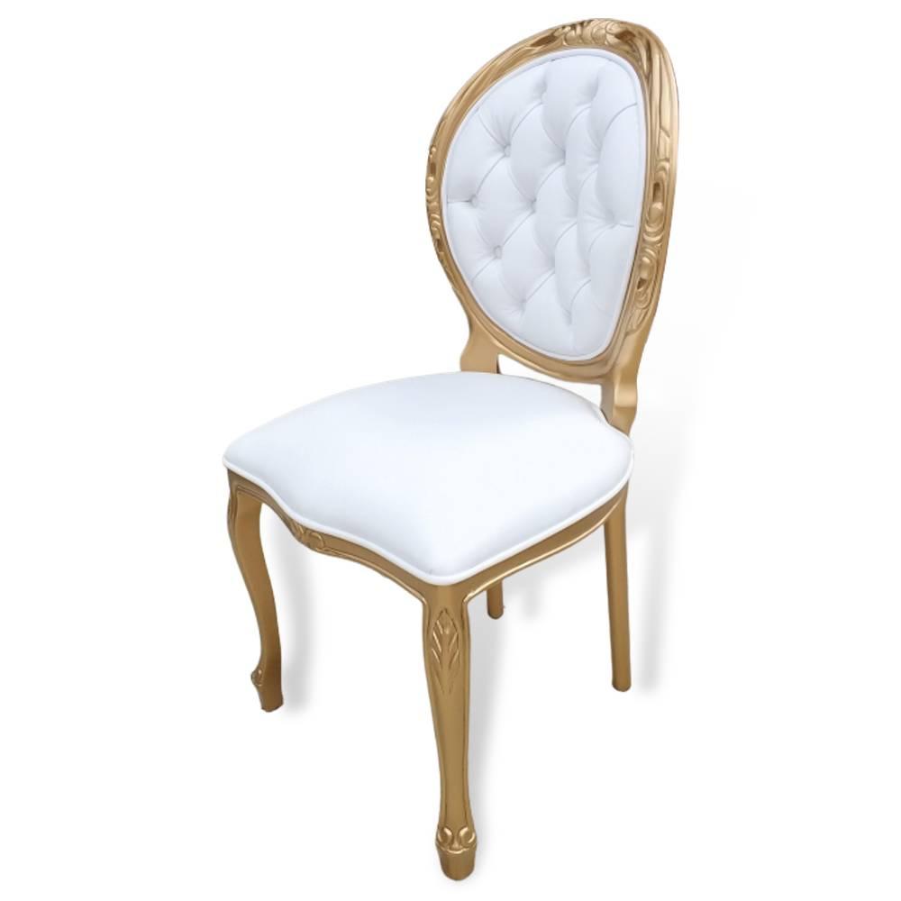 Cadeira Medalhão Entalhada Dourada Couro Branco
