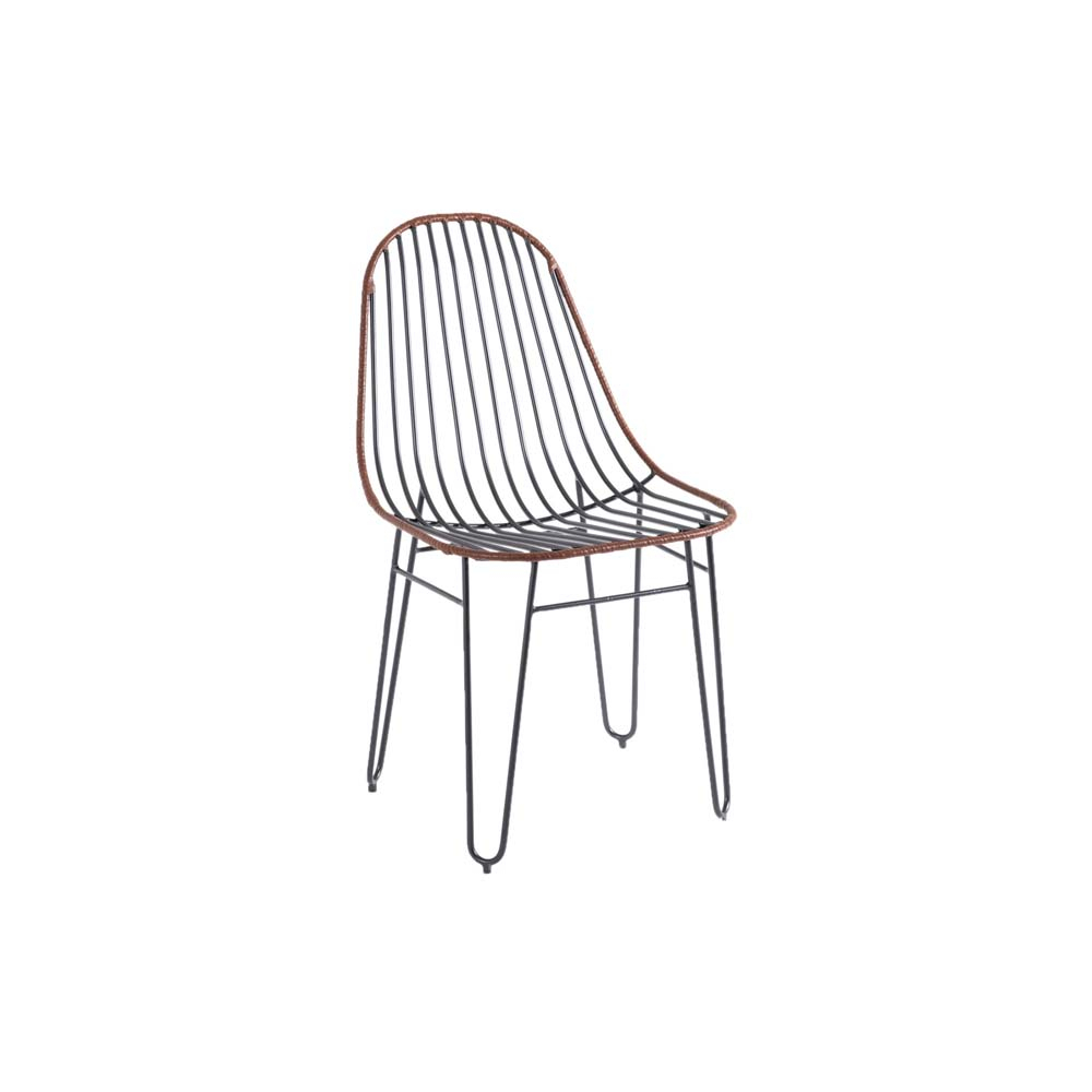 Cadeira Clever Trama e Couro Caramelo Base em Aço Carbono Preto Design Industrial e Minimalista