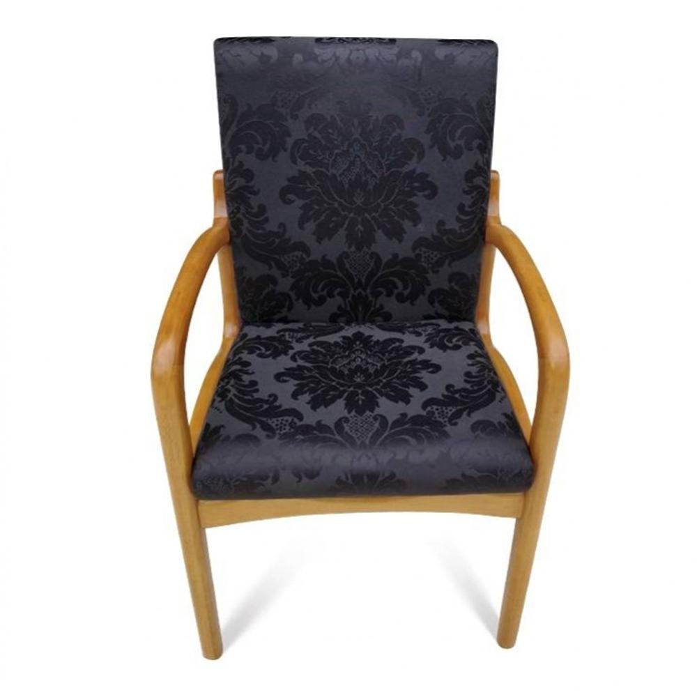 Cadeira VK com Braço em Madeira com Pinturas e Tecidos Personalizáveis