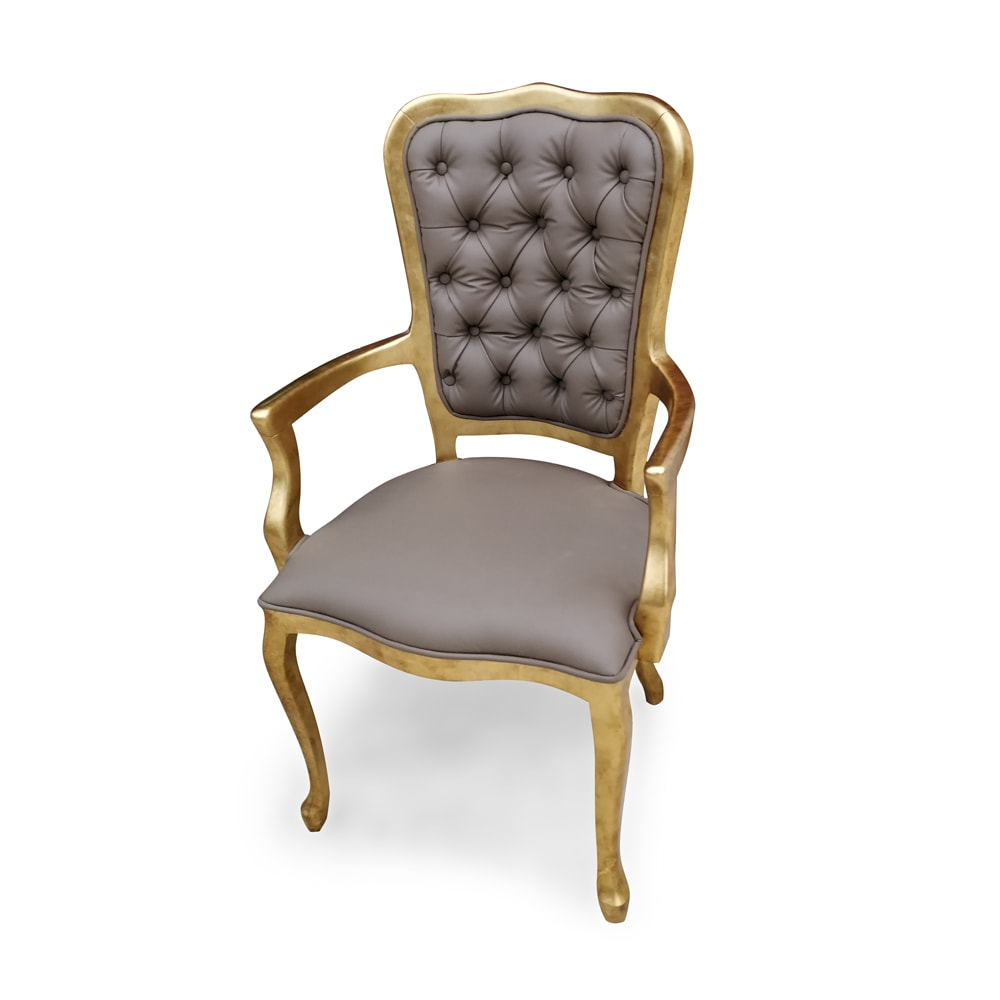 Cadeira Inglesa com Braco Folha de Ouro