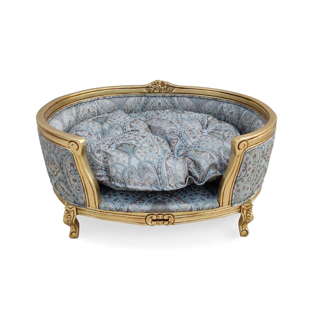 Cama Pet Luis XV de Luxo em Madeira com Pinturas e Tecidos Especiais
