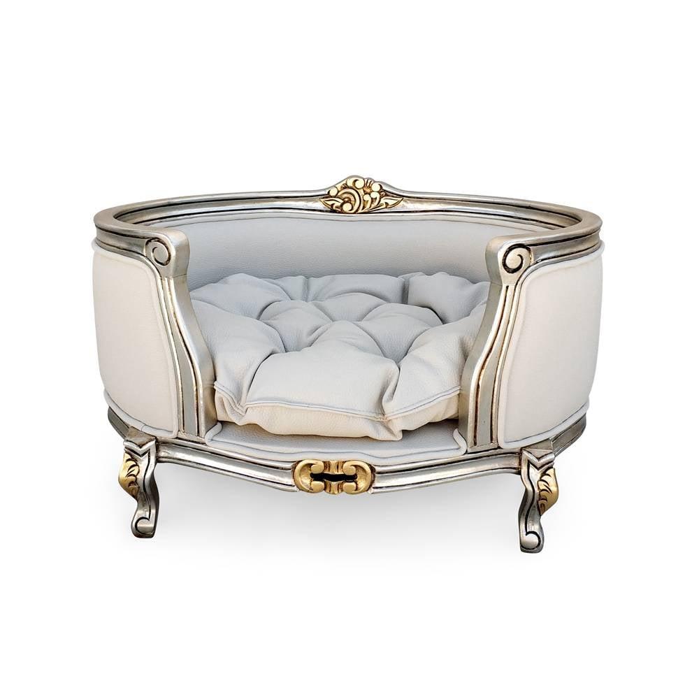 Cama Pet Luis XV de Luxo em Folha de Prata com Detalhes em Ouro e com Tecidos Personalizados