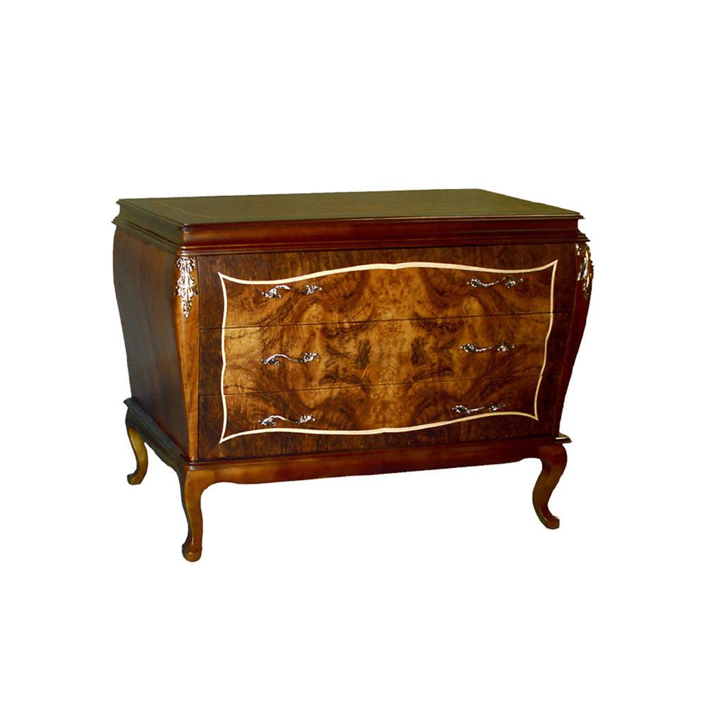 Cômoda Bombê Louis XIV Personalizado Madeira Maciça Detalhe em Marchetaria Design Clássico