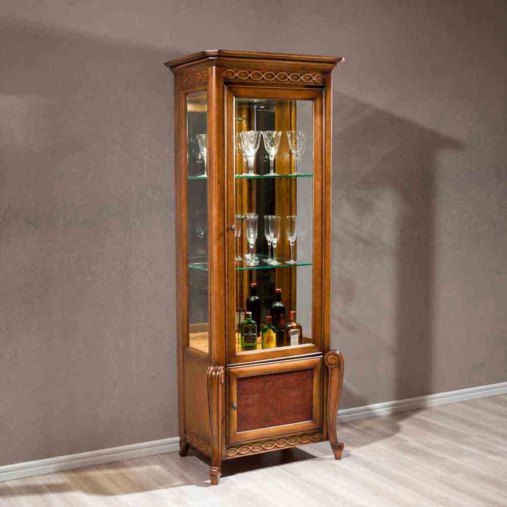 Cristaleira Hillux 1 Porta Madeira Maciça Design Clássico Avi Móveis