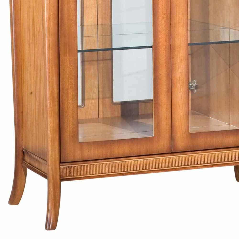 Cristaleira Armil Jequitibá 2 Portas de Vidro Espelho Iluminação em Led Bivolt Detalhes em Palha Móveis Armil