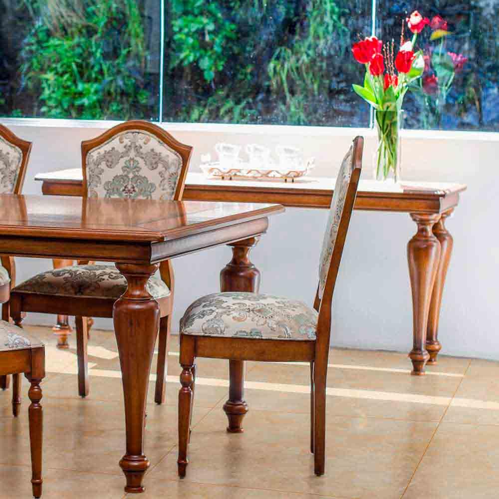 Mesa de Jantar Encanthus Madeira Maciça Design Clássico Avi Móveis