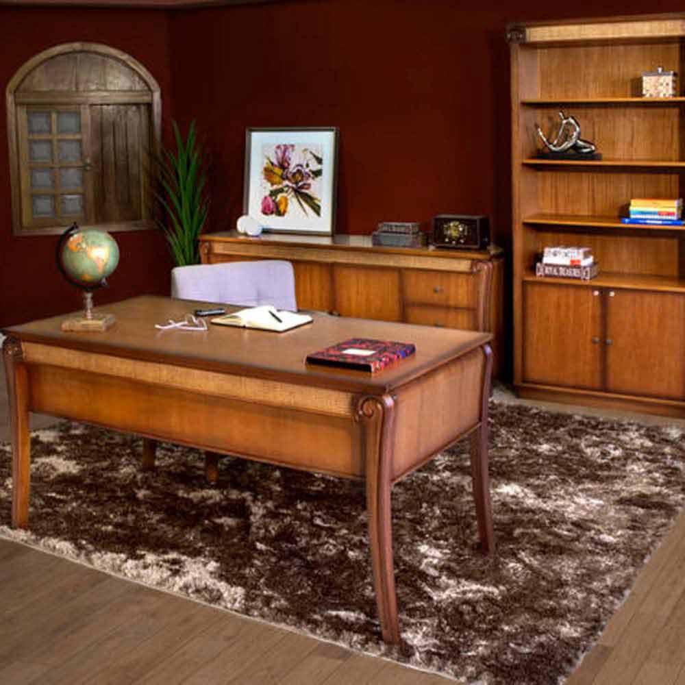 Escrivaninha Valência Jequitibá Detalhes em Palhinha Móveis Armil