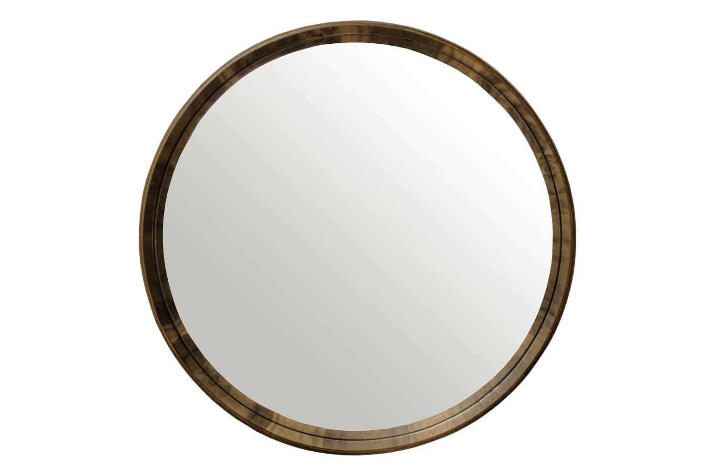 Espelho Phoenix Redondo Moldura Lâmina de Madeira Design Minimalista