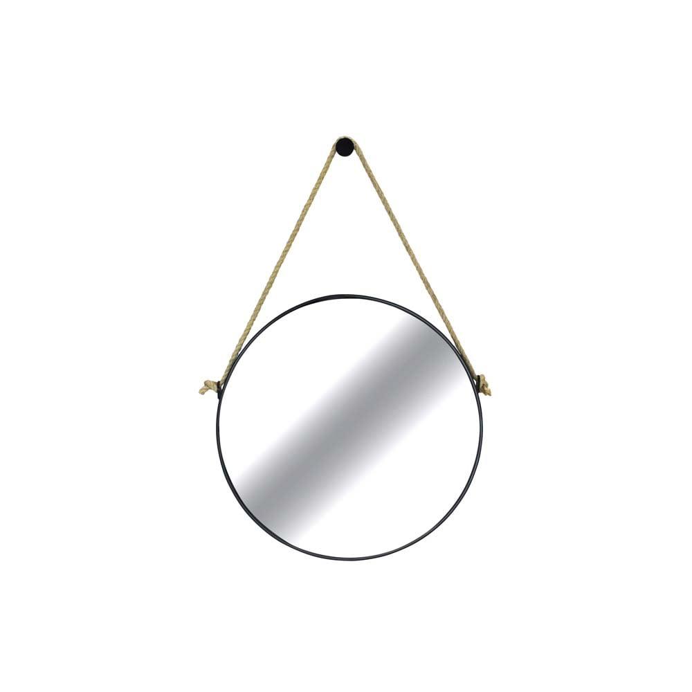 Espelho Vietnam Corda Sisal Moldura Aço Carbono com Pintura Epóxi Design Industrial e Minimalista