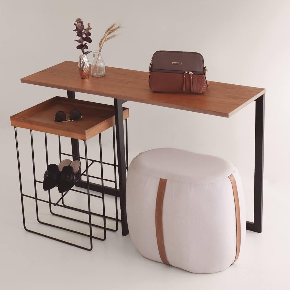 Puff Half Detalhe com Cinta Design Contemporâneo Casa A Móveis