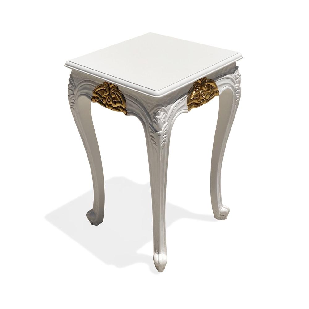 Mesa de Apoio Clássica Branca com Dourado