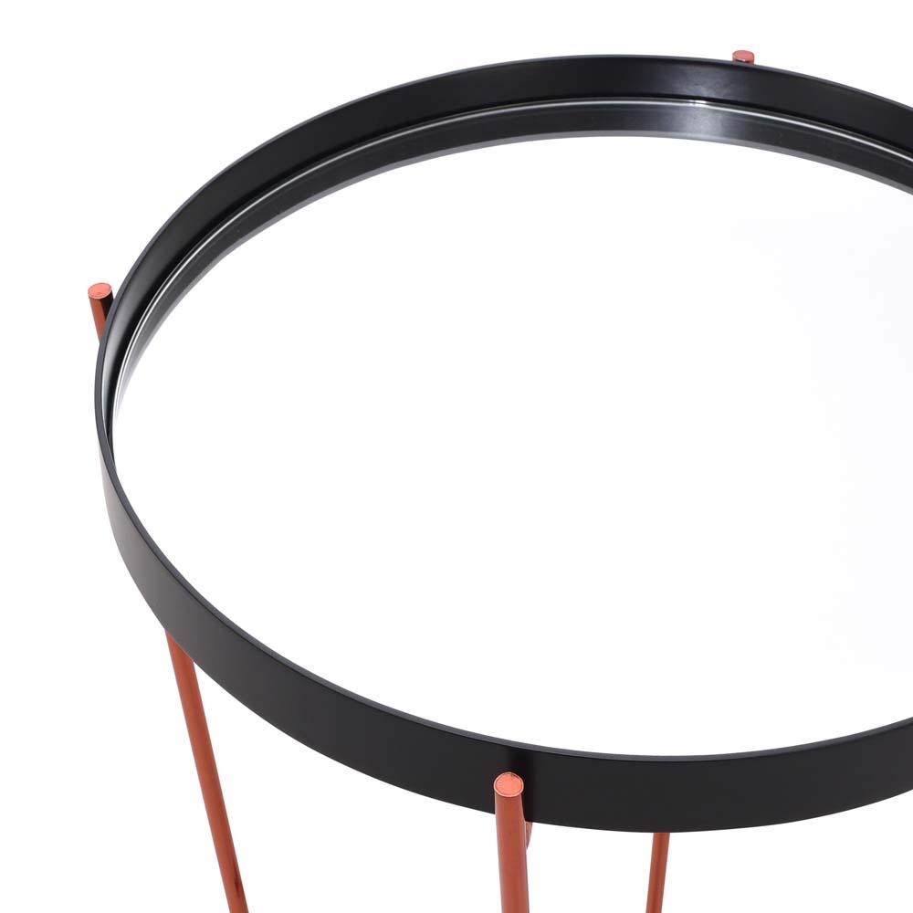 Mesa de Apoio Daly Bandeja com Espelho e MDF Laqueado Preto Estrutura Aço Carbono Design Industrial e Minimalista