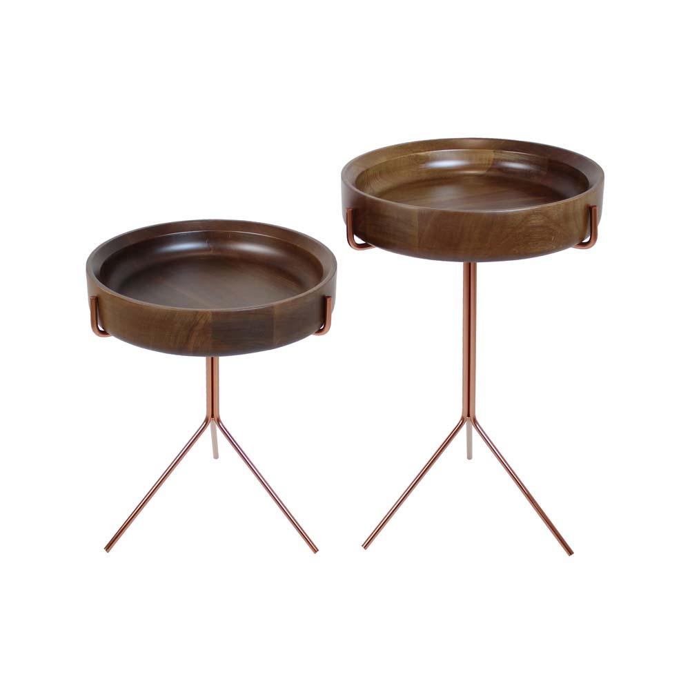 Mesa de Apoio Dwell Tampo Usinado em Madeira Jequitibá Design Industrial e Minimalista