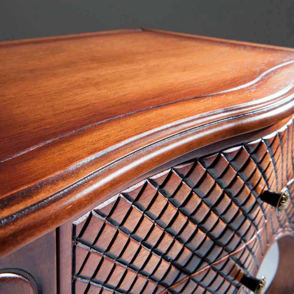 Mesa de Cabeceira Inspiração Retangular Decorativa Madeira Maciça Design Clássico Avi Móveis
