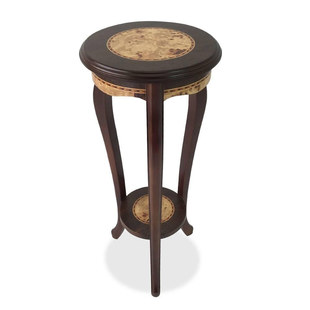 Mesa de Canto Marchetada de Madeira com Lâmina Pimenteira