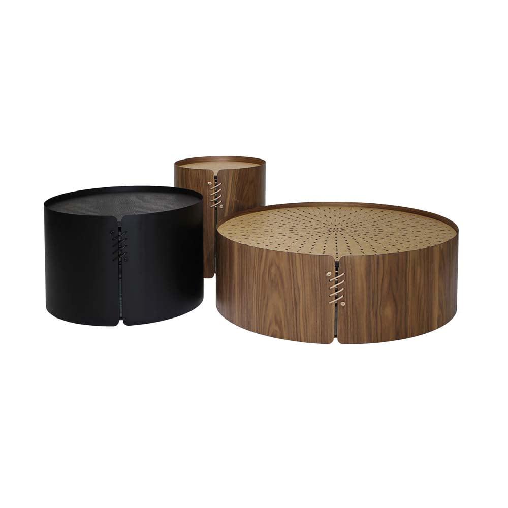 Mesa de Centro Minerva Tampo Couro Cru Aço Carbono Laminado Nogueira Design Industrial e Minimalista