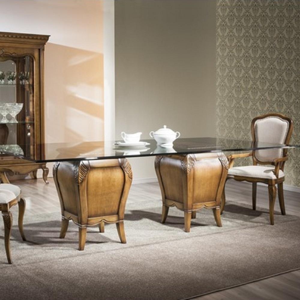 Mesa de Jantar Hillux com 2 Bases Madeira Maciça Design Clássico Avi Móveis