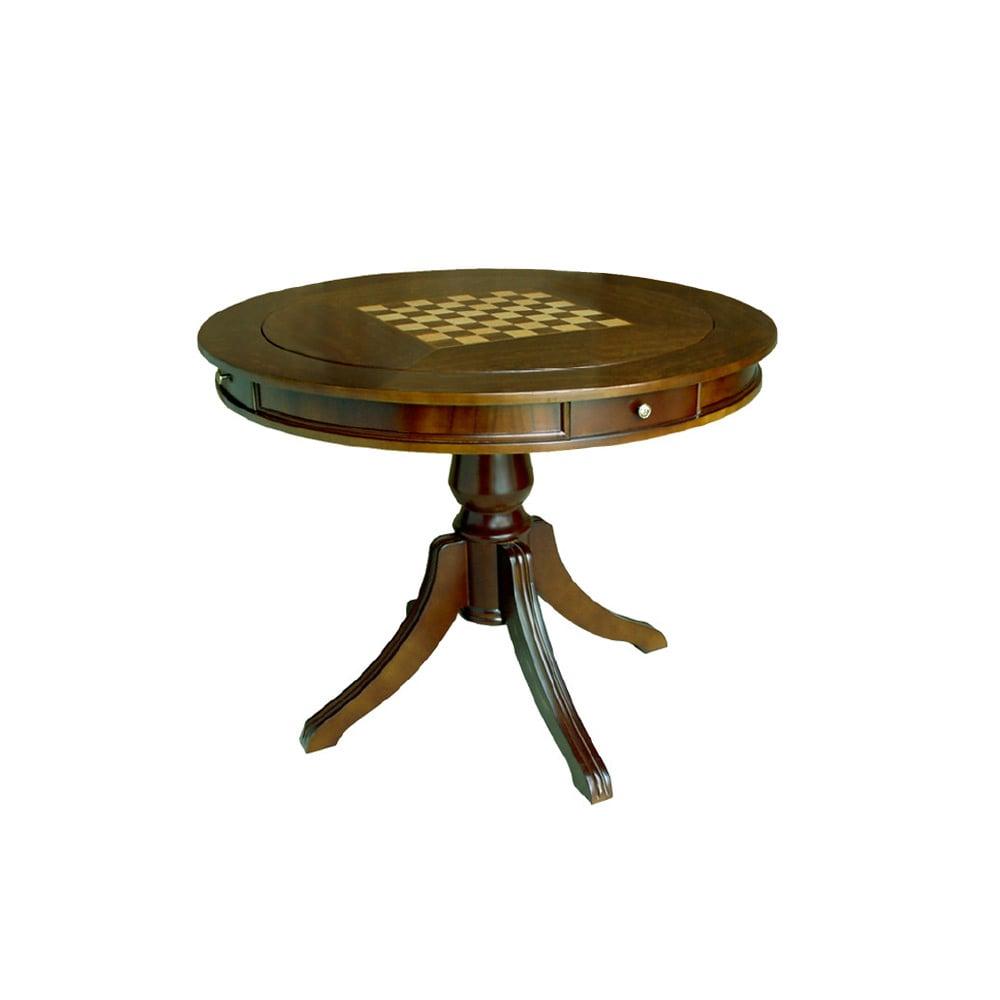 Mesa de Jogo Mônaco Tampo Reversível Personalizado Madeira Maciça Detalhe em Marchetaria Design Clássico