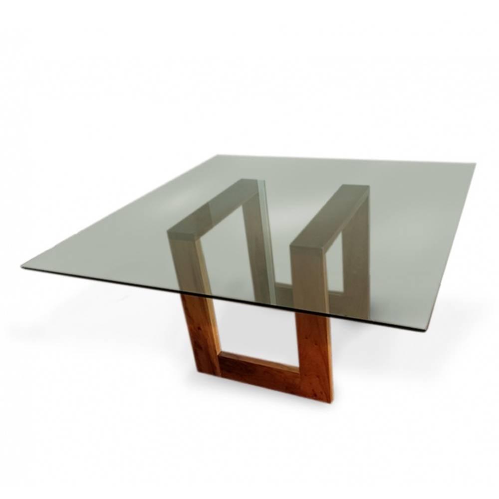 Mesa Design Tingido Imbuia com Tampo de Vidro Quadrado para 8 Lugares