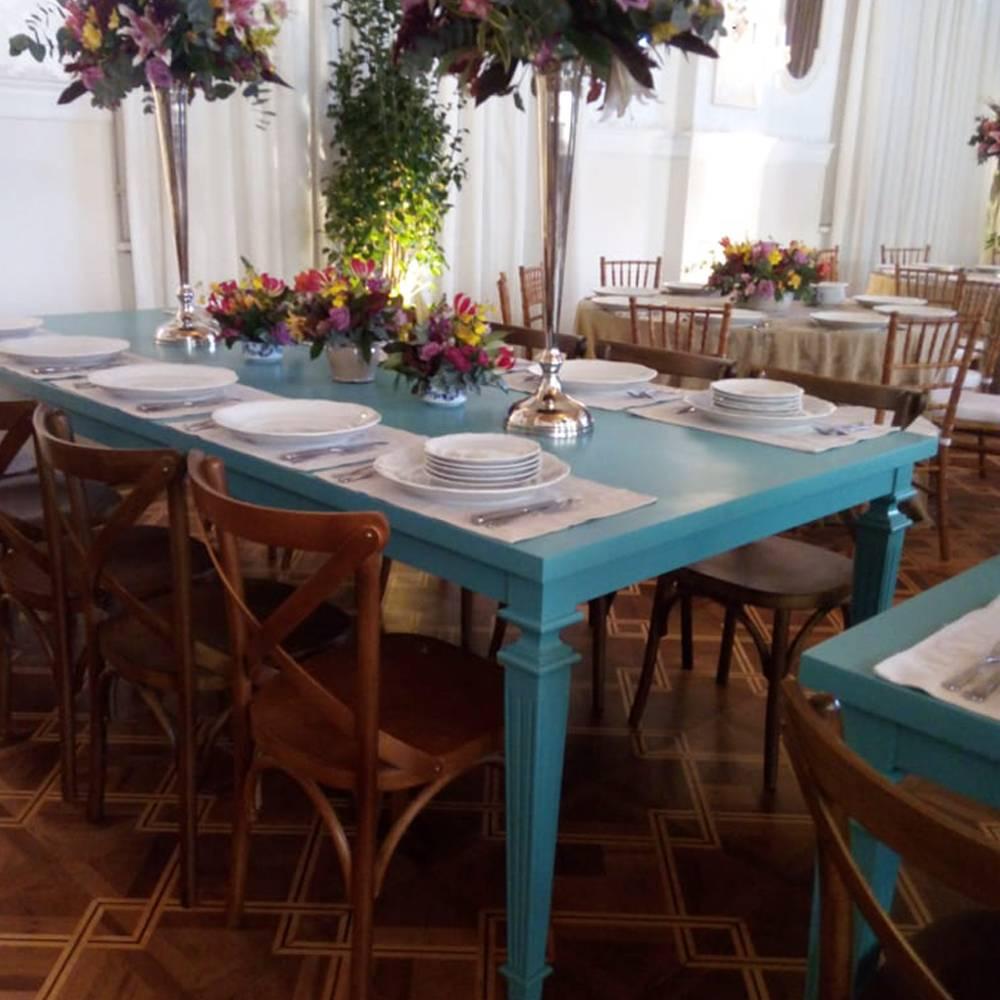 Mesa Florença em Madeira Maciça com Pinturas Customizadas