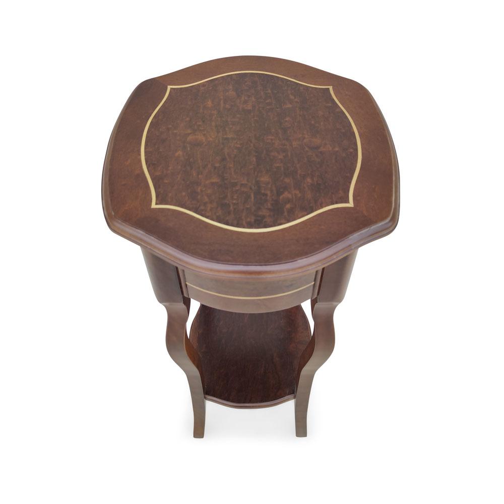 Mesa Lateral Bali Personalizado Madeira Maciça Detalhe em Marchetaria Design Clássico